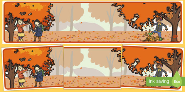Fall Editable Display Banner Leaves