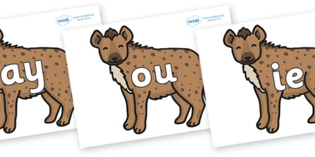 Phase 5 Phonemes on Hyenas - Phonemes, phoneme, Phase 5, Phase five, Foundation, Literacy, Letters and Sounds, DfES, display