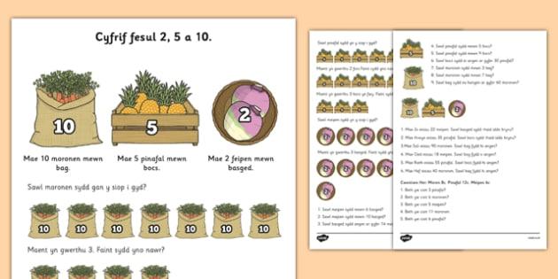 Counting in 2s, 5s and 10s Multiplication Worksheet Welsh - welsh, cymraeg, cyfri, 2, 5, 10, problem rhif, worksheet