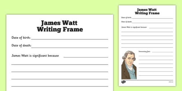 Scottish Significant Individuals James Watt Writing Frame - CfE, significant individuals, engineering, steam engine, horsepower, watt,  science, inventions, inventor, curriculum, excellence