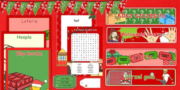 Zestaw materiałów Kiermasz świąteczny po polsku - święta, zima