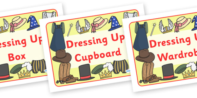 Dressing Up Box Labels - dressing up, label, box, sign, A4, display, dressing up box, labels, school labels