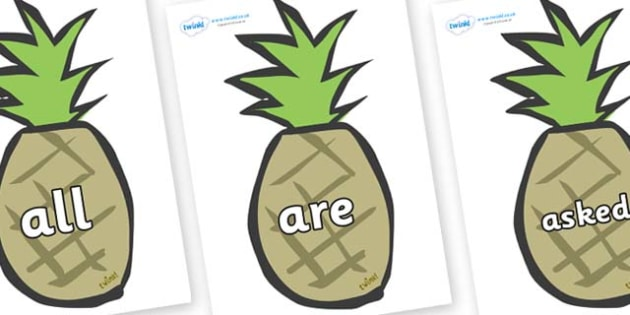 Tricky Words on Pineapples - Tricky words, DfES Letters and Sounds, Letters and sounds, display, words