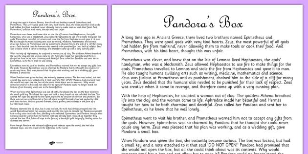 Box Ancient Greek Myth Story Print Out - ancient greece