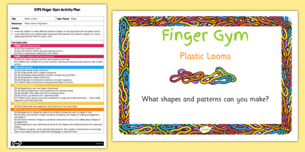 EYFS Plastic Looms Finger Gym Activity Plan and Prompt Card Pack