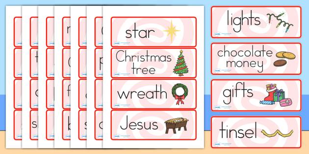 Australia Christmas Topic Word Cards - christmas, word mat, keywords, xmas