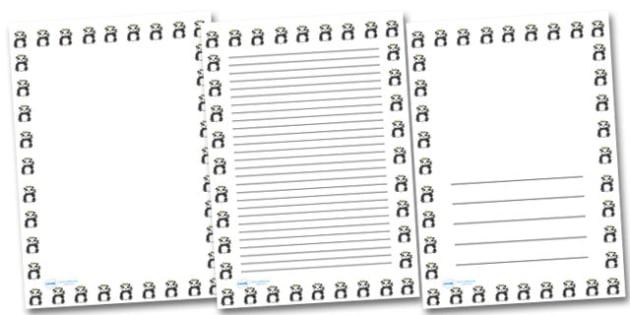 Panda Landscape Page Borders- Landscape Page Borders - Page border, border, writing template, writing aid, writing frame, a4 border, template, templates, landscape