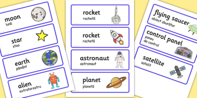 Spaceship Word Cards Romanian Translation - romanian, space ship