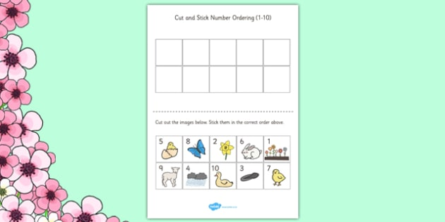 Spring Themed Cut and Stick Number Ordering Sheets 1-10 - number