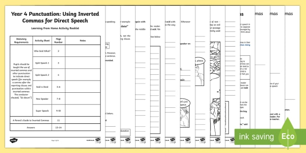 Year 4 Punctuation: Using Inverted Commas for Direct Speech Learning From Home Activity Booklet - Learning From Home Activity Booklets (KS2), inverted commas, direct speech, speech punctuation, said