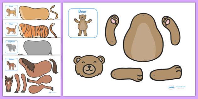 Split Pin Animal Characters - education, home school, free, fun