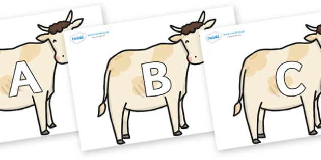 A-Z Alphabet on Cows - A-Z, A4, display, Alphabet frieze, Display letters, Letter posters, A-Z letters, Alphabet flashcards