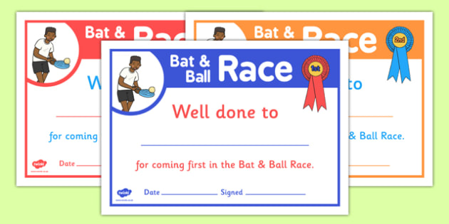 Sports Day Bat and Ball Race Certificates - sports day, certificates