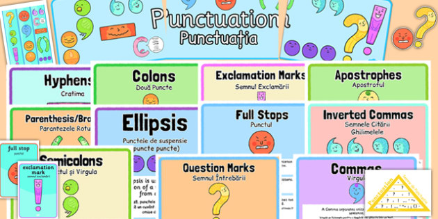 KS1 Punctuation Display Pack Romanian Translation - romanian, ks1, punctuation, display pack
