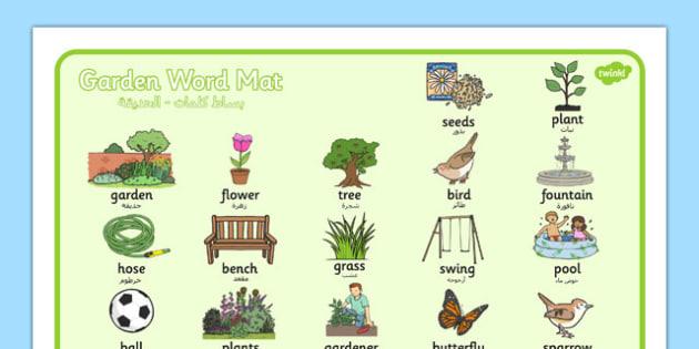Garden Word Mat Arabic Translation - arabic, garden, word mat, word, mat, back garden, outside