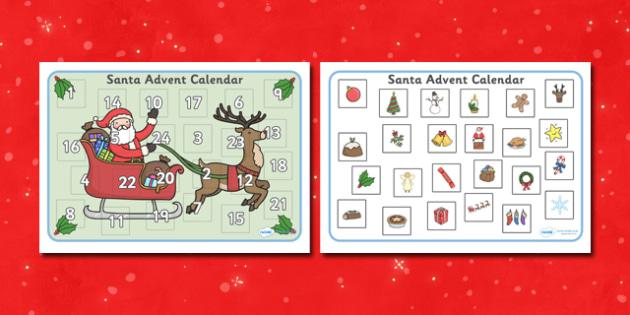 Santa Advent Calendar Activity - Christmas, xmas, Advent calendar, activity, tree, advent, nativity, santa, father christmas, Jesus, tree, stocking, present, activity, cracker, angel, snowman, advent , bauble