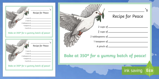 Recipe for Peace Activity Sheet