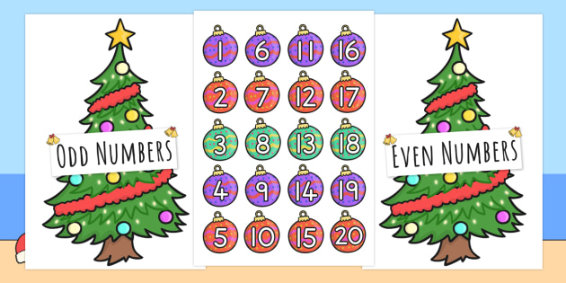 Odds and Evens Sorting Baubles on Christmas Trees - australia