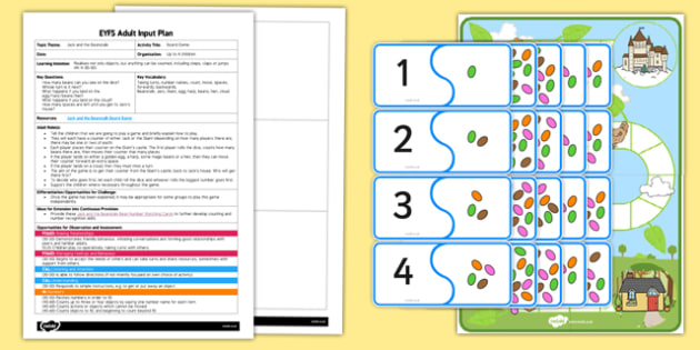 Jack And The Beanstalk Board Game EYFS Adult Input Plan And Resource Pack
