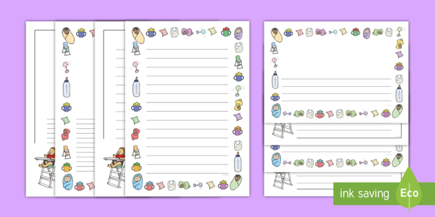 Babies Page Borders - Page border, baby, babies, border, writing template, writing aid, family, mum, dad, brother sister, grandpa, grandma, uncle, aunt, writing frame, KS1, ourselves, all about me, my body, senses, emotions, family, body, growth