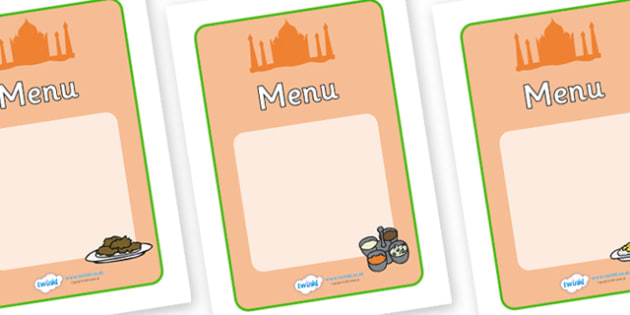 Indian Restaurant Role Play Menu Writing Templates - Indian restaurant, role play, curry, food, takeaway, menu, page border, Indian culture, India, poppdom