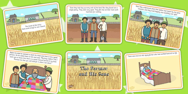 The Farmer and His Sons Story Cards - aesops fables, visual aids