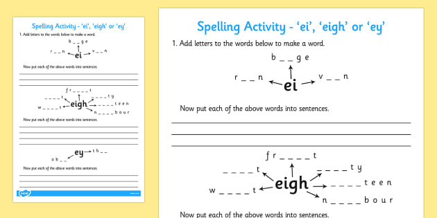 -ei -eigh or -ey Spelling Activity - spell activity, ei, eigh, ey
