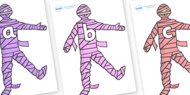 Phase 2 Phonemes on Mummies (Multicolour) - Phonemes, phoneme, Phase 2, Phase two, Foundation, Literacy, Letters and Sounds, DfES, display