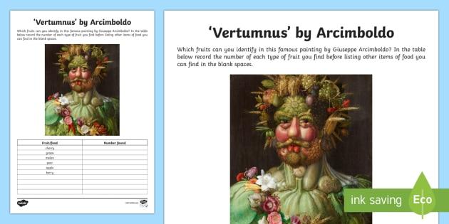 Vortumnus by Arcimboldo Activity Sheet - artist, art appreciation, Arcimboldo, work sheet, activity sheet, Vortumnus,Irish, fruit, food, pain
