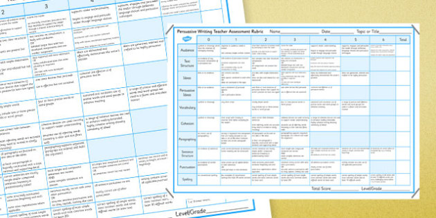 Persuasive Writing Teacher Assessment Rubric - australia, Persuasive, Rubric, Marking, Assessment, NAPLAN, Australian