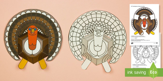 Simple 3D Thanksgiving Turkey Printable Decoration Activity Paper Craft