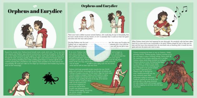 Orpheus and Eurydice Story PowerPoint - story, orpheus, eurydice