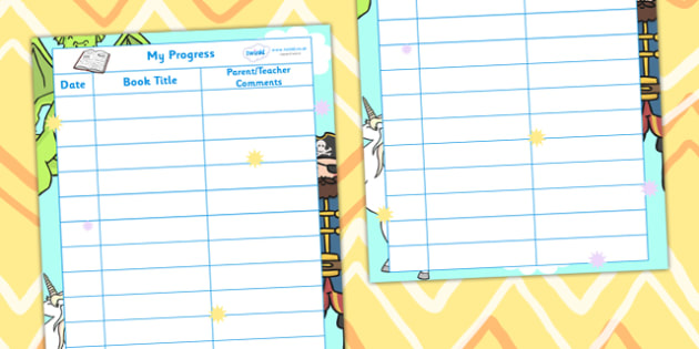 Fantasy Themed Teacher Parent Comments Sheet - fantasy, reading record, fantasy themed, books, parents notes, reading journal, reading diary, reading