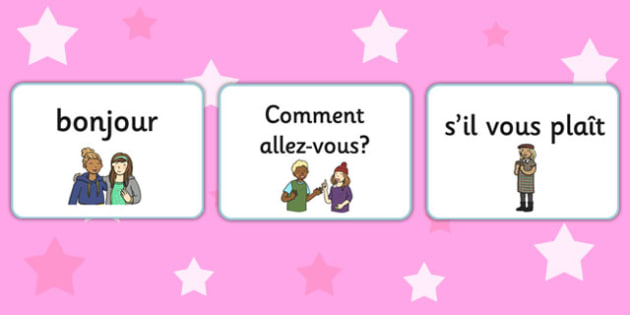 French Greetings A5 Flashcards - french, greetings, a5, flashcards