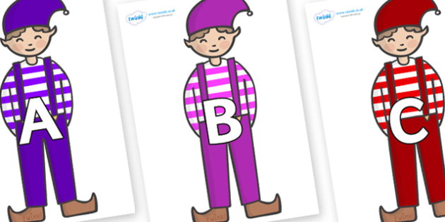 A-Z Alphabet on Elf (Boy) - A-Z, A4, display, Alphabet frieze, Display letters, Letter posters, A-Z letters, Alphabet flashcards