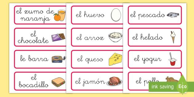 Tarjetas de vocabulario de comida - comida, vocabulario