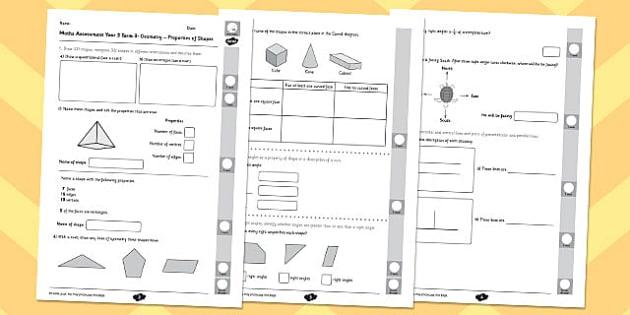 Year 3 Maths Assessment: Geometry - Properties of Shapes Term 3 - year 3, maths, assessment, geometry