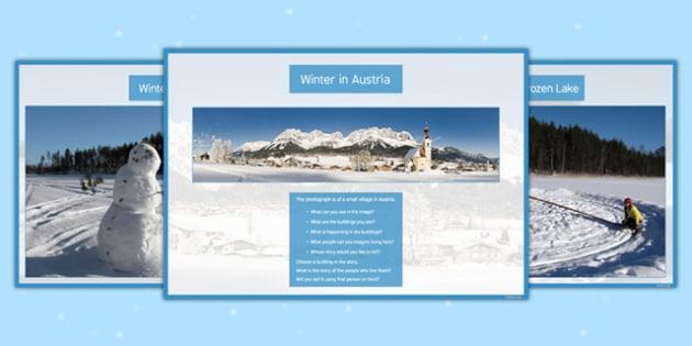 Writing Prompts Winter Prompt Cards - KS3, KS4, Writing Prompts, Creative Writing, Winter, English, Snowmen, Snow, Christmas