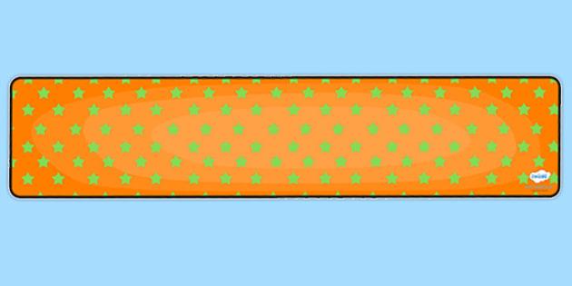 Orange with Green Stars Editable Display Banner - orange, green, display, banner, display banner, display header, themed banner, editable banner, editable
