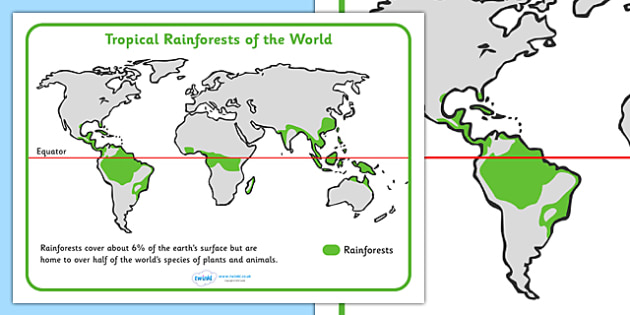 Tropical Rainforests World Map - tropical rainforest