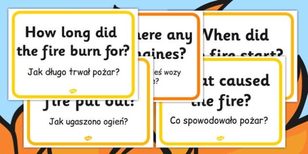 The Great Fire of London Question Cards Polish Translation - polish