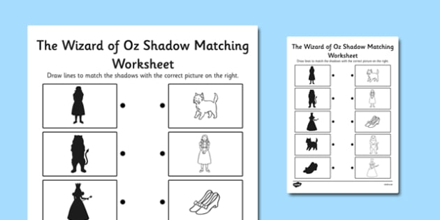 The Wizard of Oz Themed Shadow Matching Activity Worksheet