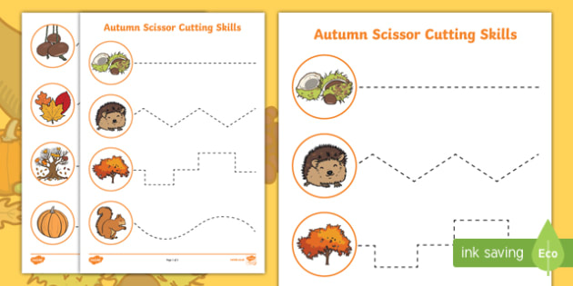 Autumn Themed Cutting Skills Activity Sheets