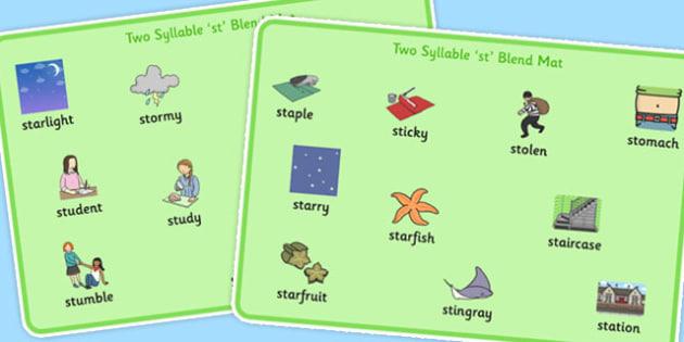 Two Syllable 'st' Blend Word Mats - st sound, word mat, blend
