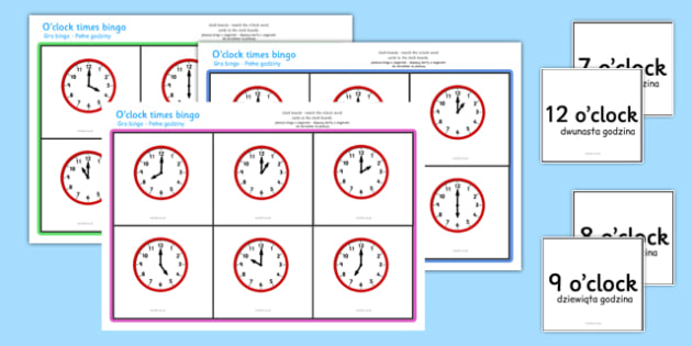 O'clock Times Bingo Polish Translation - polish, Time bingo, time game, Time resource, Time vocaulary, clock face, Oclock, half past, quarter past, quarter to, shapes spaces measures
