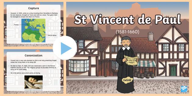 St Vincent de Paul PowerPoint-Scottish - CfE Catholic Christianity, prayers, mass responses, saints, charity, religious orders ,Scottish