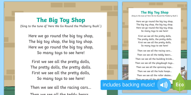 The Big Toyshop Song - EYFS, Early Years, Toys, toy shop, teddy bear, shop, games, rhyme