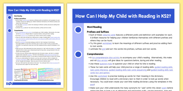 How Can I Help My Child With Reading in KS2? Information Sheet - reading, ks2, sheet