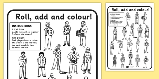 People Who Help Us Roll and Colour Worksheets - colouring, games