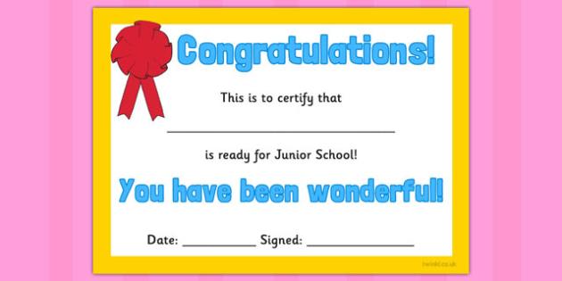 Infant to Junior School Certificate - infant, junior, certificate